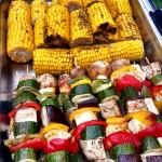 Vegetable Skewers, Corn On The Cob